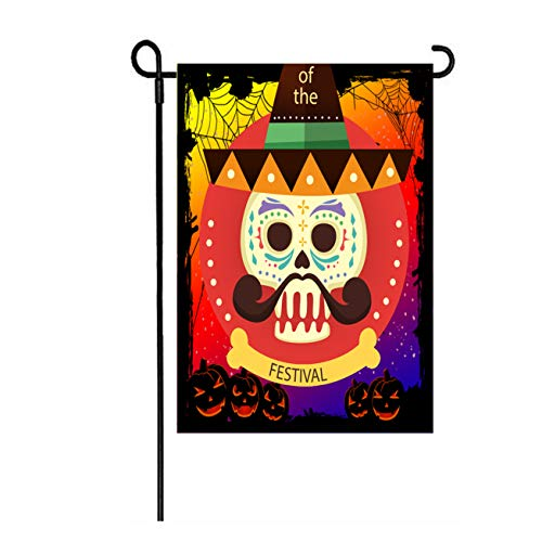 MZYARD Mexican Fiesta Party Day of The Dead Día de Muertos Garden Flag Halloween Decoration 12.5 x 18 inch Two Sided Fall Yard Decoration]()