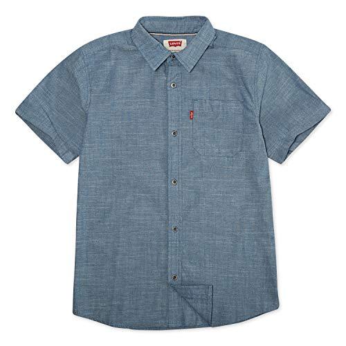 Levi's Boys' Big Short Sleeve Button Up Shirt, Chambray, M