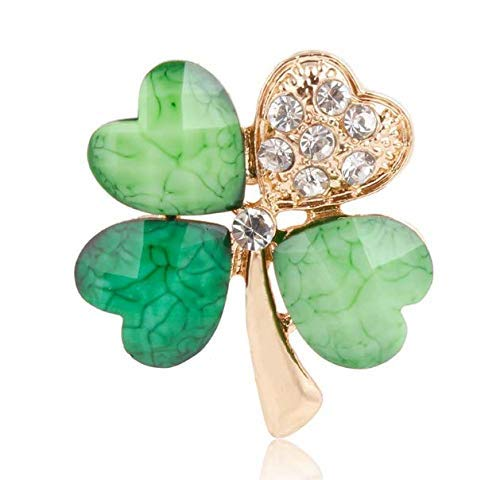 (Green Shamrock Pin, Celtic St Patrick's Day Pin Brooch, Gold Plated Four Leaf Clover Pin with Faceted Green Stone and Rhinestones, Irish Jewelry, Women's Fashion Jewelry,)