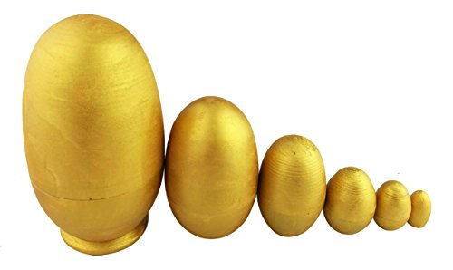 Winterworm Glossy DIY Gold Egg Shape Handmade Wooden Russian Nesting Dolls Matryoshka Dolls Set 6 Pieces for Kids Toy Christmas Home Decoration Easter Egg ()