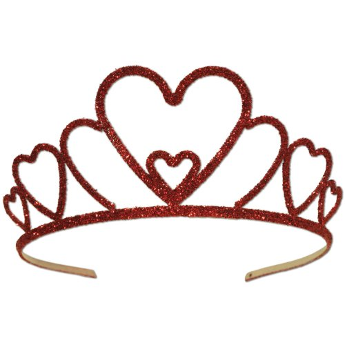 Beistle 70630 Glittered Metal Heart Tiara, 1 Per Package]()