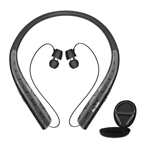 Bluenin Bluetooth Headphones with Carrying Case, Bluetooth 5.0 Wireless Neckband Headset with Retractable Earbuds,16 Hrs Playtime Sports Sweatproof Noise Cancelling Earphones with Mic (Black)