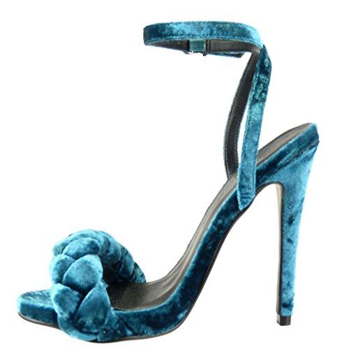 Angkorly - Zapatillas de Moda Sandalias Tacón escarpín mujer trenzado tanga Talón Tacón de aguja alto 12.5 CM - Azul