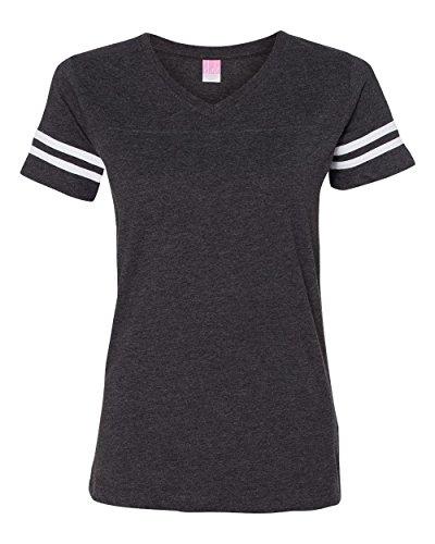 Lat Ladies' Fine Jersey Football T-Shirt (Vintage Smoke_Blended White) - Tee V-neck Football