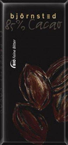 Björnsted Bio Feine Bitter schokolade, 85% Cacao- mehr ist fast nicht möglich, für Feinschmecker und Liebhaber edler Bitter Schokolade, GROSSFORMATTAFEL, 100g