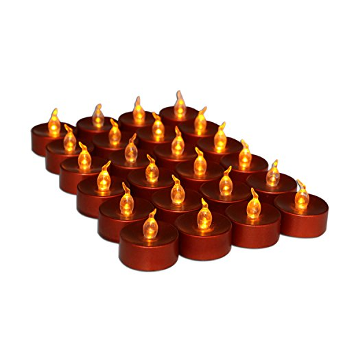 Youngerbaby 24 Pieces Brown Battery-Powered Flameless Candles, Flickering Led Tea Lights Candle, Flashing Led Candles, Battery Operated Candles for Birthday Wedding Party
