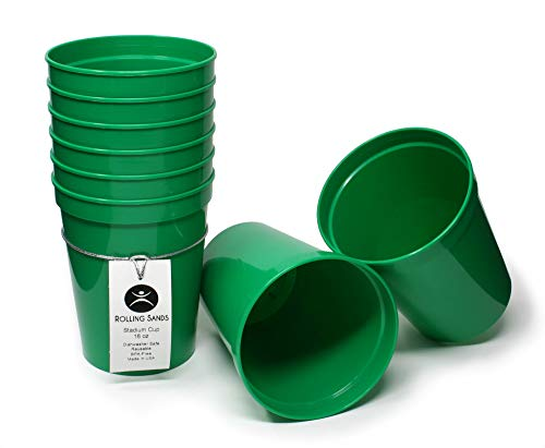 Rolling Sands 16 Ounce Reusable Plastic Stadium Cups Green, 8 Pack, Made in USA, BPA-Free Dishwasher Safe Plastic Tumblers