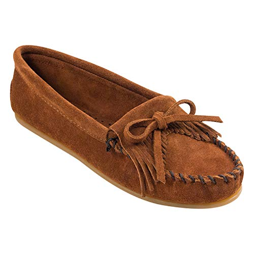 Minnetonka Women's Kilty Faux Fur Slippers, Suede Moccasin Slippers, Brown 8.5 W (Womens Brown Moccasins)