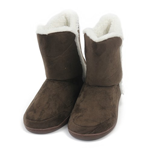 Forfoot Women's Indoor Super Soft Cozy Slippers With Slip-Resistant TPR Bottom Sole Brown Samll