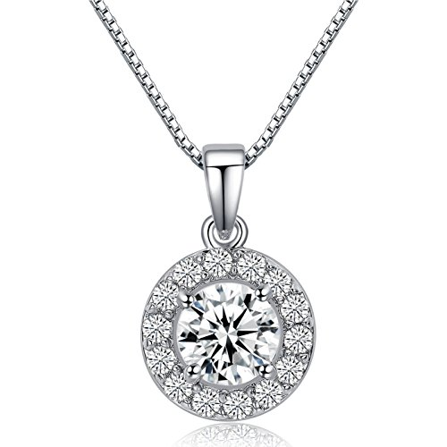 LicLiz 0.75 Carat Round Cut Cubic Zirconia CZ Halo Pendant Necklace for Women 16