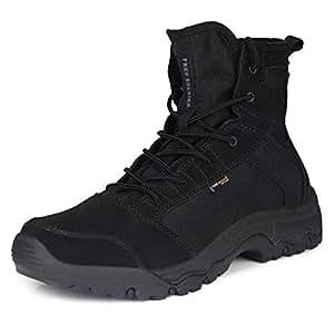 FREE SOLDIER al Aire Libre Hombres tormenta Ultraligero Tactical Botas Transpirable Zapatos Ligero y Duradero (Negro, 42)