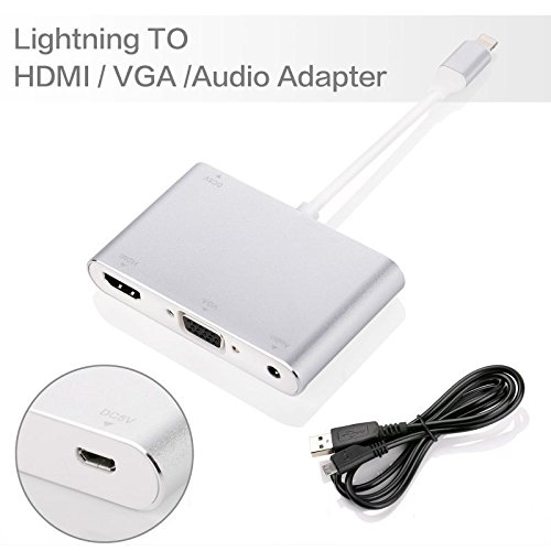 Lightning to HDMI VGA Adapter Plug & Play Converter for iPhone iPad to HDMI and VGA Cable with Audio output HD TV 1080P Monitor Projector