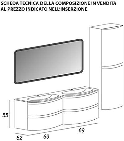 BADEN HAUS Mueble baño suspendido Moderno Vague Gris antracide, tamaño cm 138, con Espejo de LED, 2 lavabi y Columna: Amazon.es: Hogar