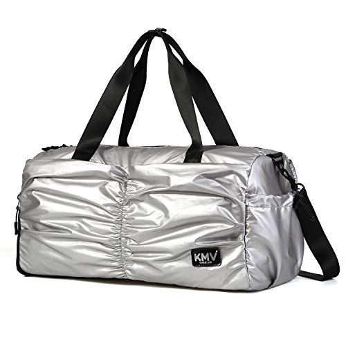 Gyms Bag with Shoes Compartment Mens/Womens Waterproof Sport&Travel Duffel Black and Rose Gold (Silver)
