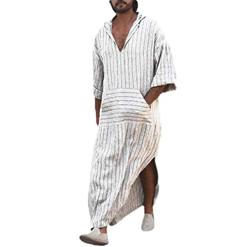 (AngelSpace Men's Baggy Hooded Pockets Maxi Muslim Summer Stripes Kaftans White L)
