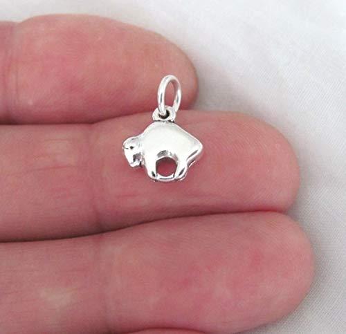 Pendant Jewelry Making/Chain Pendant/Bracelet Pendant Sterling Silver Western Style Buffalo Satin Finish Small Charm