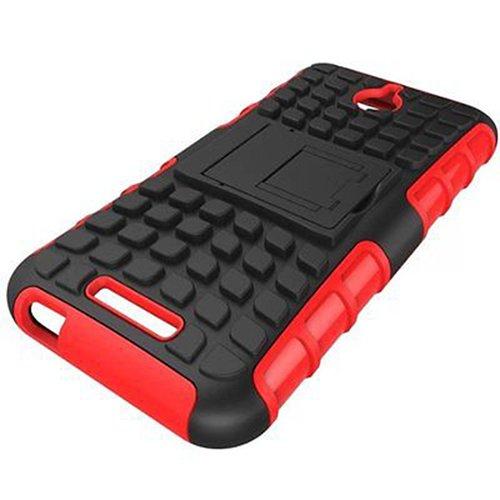 E8Q prueba de golpes de neumáticos Patrón reforzados ARMOR caso de goma suave protector para HTC Desire 510 negro