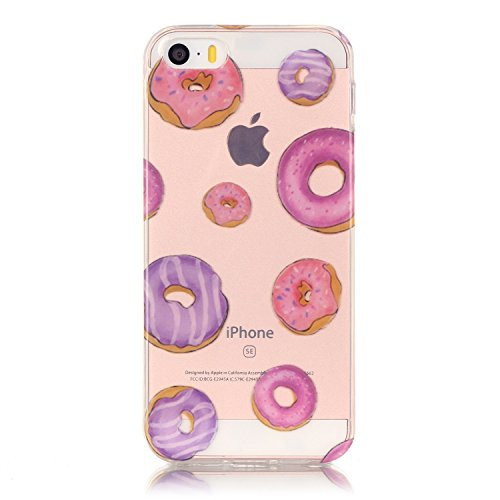 Price comparison product image Urberry Iphone SE Case, Iphone 5 Case, Iphone 5S Case, Cute Doughnut Print Case with a Screen Protector