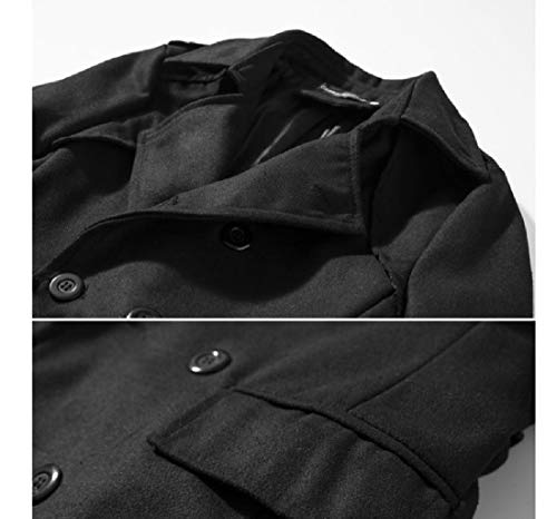 Double with Down Fit Black Breasted Howme Belt Collar Woolen Men Turn Coat T70xwAqZI