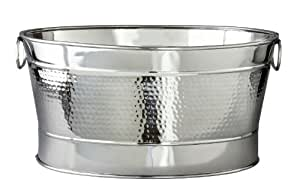 Elegance Hammered 20-1/2 by 14 by 9-Inch Stainless Steel Party Tub