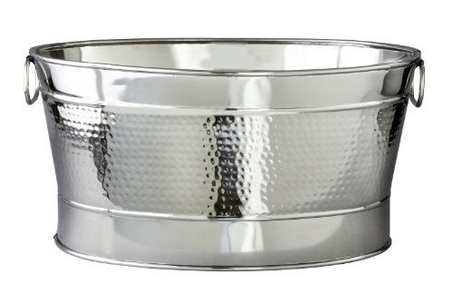 Stainless Steel Party Tub - Elegance Hammered 20-1/2 by 14 by 9-Inch Stainless Steel Party Tub