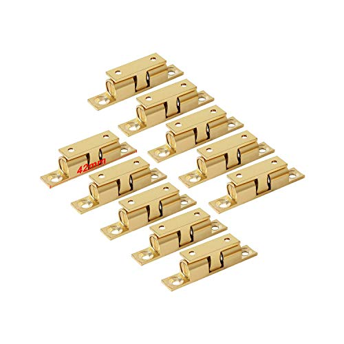 LOOTICH Brass Door Double Ball Tension Catches 42mm for Cabinet Kitchen Bathroom Cupboards Wardrobes Roller Latches Silent Locks Stopper (10 Pcs)