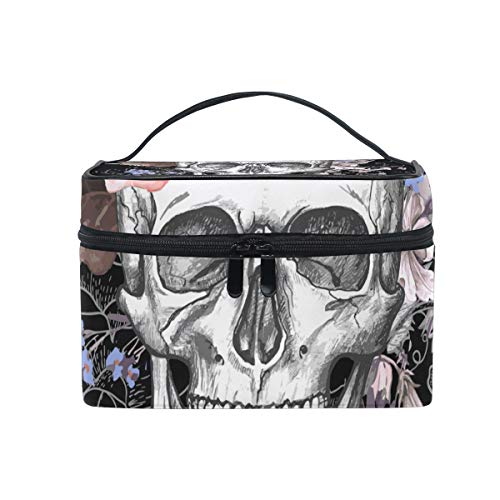 Romantic Angel Makeup Bag Flower Halloween Sugar Skull Travel Cosmetic Bags Organizer Train Case Toiletry Make Up Pouch -