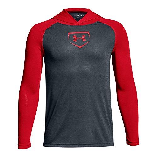 Under Armour Boys' Baseball UA Threadborne Hoodie, Stealth Gray/Red, Youth Medium