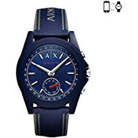 Armani Exchange Men's Hybrid Smartwatch, Blue Silicone, 44 mm, AXT1002