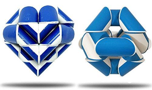 GeniusCells Novelty Magic Geometric Snake Fidget Cube Twist Puzzle Brain Teaser Puzzles Twisty Toys Gifts Blue 24