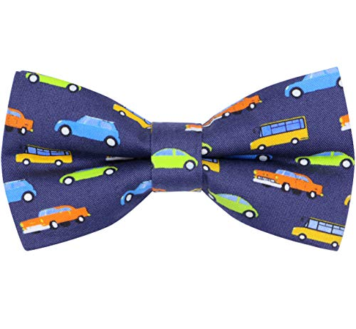OCIA Cotton Cute Pattern Pre-tied Bow Tie Adjustable Bowties for Mens & Boys Cars (Best Car For Big And Tall Man)