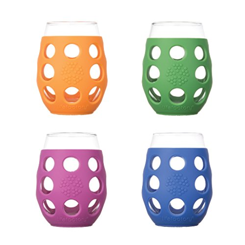 Wine Glass Assorted Colors Lifefactory 4/pk 11 oz Glass