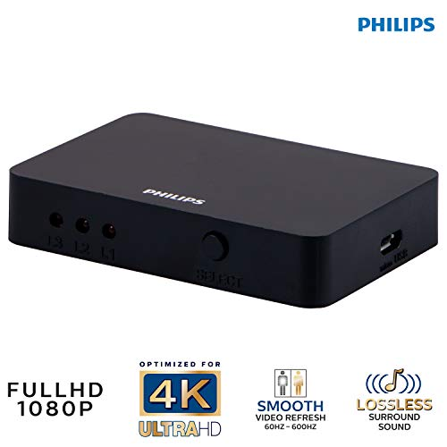 Philips | HDMI Switch, 3-Port | Up to 3 HDMI Devices on 1 HDMI Port | 4K @ 30 FPS | Compatible Devices include PS4 Pro, Xbox One, Nintendo Switch, Blu-ray, DVD Player, Fire Stick, Roku, SWV9283A/27