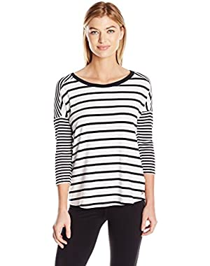 Women's Plus Sizestripe Mix Drop Shoulder 3/4 Sleeve Tee Size