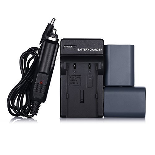 Powerextra 2 Pack Replacement Canon NB-2L, NB-2LH Battery With Charger for Canon PowerShot G7 G9 S30 S40 S45 S50 S60 S70 S80 DC410 DC420 VIXIA HF R10 HF R100 HF R11 EOS 350D 400D Digital Rebel XT XTi