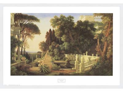 Poster Palooza Framed Italian Villa- 32x24 Inches - Art Print (Classic White Frame)