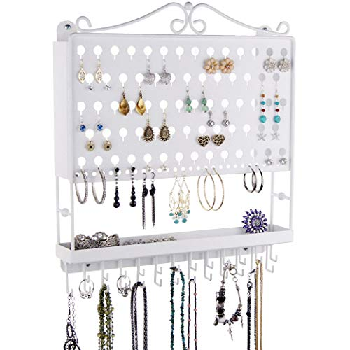 Angelynn's Hanging Jewelry Organizer Earring Holder Wall Mount Closet Necklace Storage Bracelet Rack Tray, White