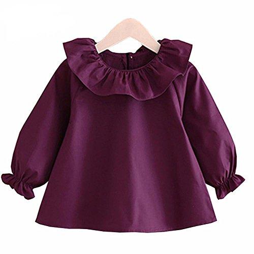 VIYOO Little Girls Blouse Cotton Long Sleeve Lotus Leaf Collar 2-7 Year