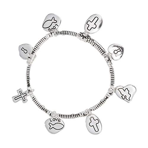 Madison Tyler Religious Prayer Bracelet for Women Religious Jewelry Gift for Girls Christian Gift -Rhodium Engraved Stretch Charm Bracelet with Love