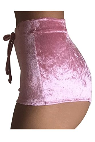 COCOLEGGINGS Womens Casual Soft High Waist Drawstring Velvet Club Shorts Pink M (Velvet Womens Clothing)