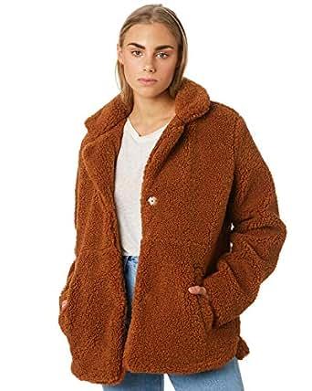 The Hidden Way Women's Cheri Oversized Shirling Coat Polyester Brown
