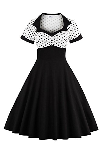 Ladies Halloween Costume 1950 Vintage Dress Pinup Cocktail Swing Dresses White,XL -