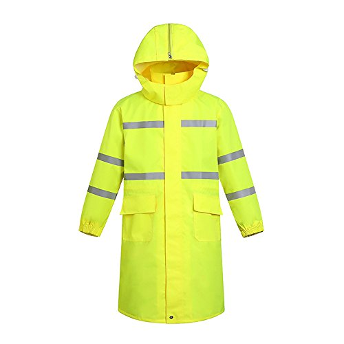 (Men's 300D Oxford Yellow High Visibility Traffic Coat Safety Rain Coat Reflective Jacket Waterproof)