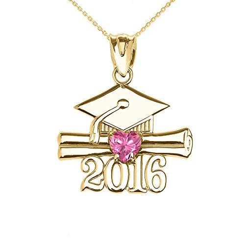 Collier Femme Pendentif 10 Ct Or Jaune Cœur Octobre Pierre De Naissance Rose Oxyde De Zirconium Classe De 2016 Graduation (Livré avec une 45cm Chaîne)