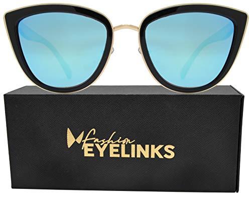 (PZ Polarized - Women Cat Eye Metal Bridge Design Mirror Sunglasses (Black Gold + Ice Blue Mirror Lens))