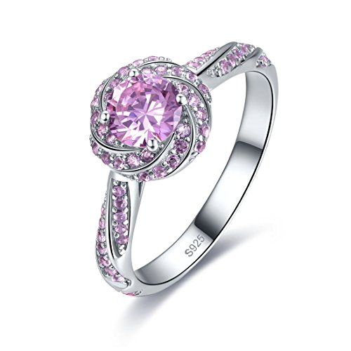 (Merthus Womens 925 Sterling Silver Created Pink Topaz Swirl Solitaire Halo Engagement Promise Ring)