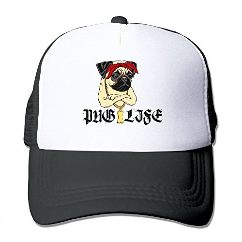 NO4LRM Adult's Pug Life Gold Necklace Youth Mesh Baseball Cap Summer Adjustable Trucker Hat