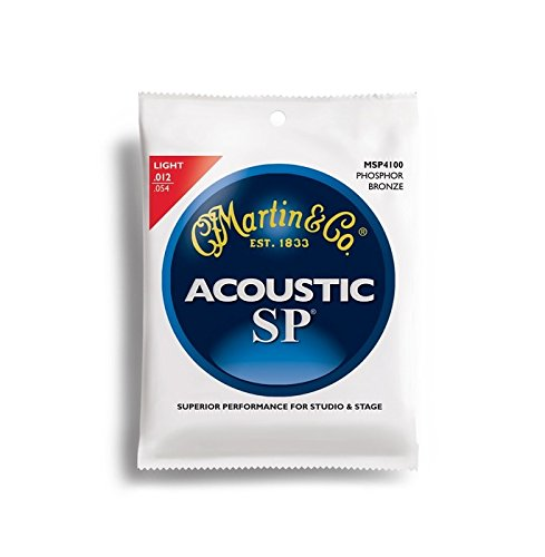 Martin SP Acoustic Guitar Strings - Light (MSP 4100) Phosphor Bronze 92/8 – 1 Set of 6 Strings ()