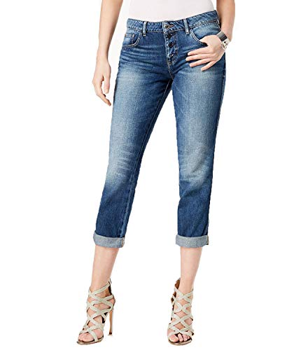 GUESS Women's Cotton Button-Fly Tomboy Jeans (Dark Wash, -