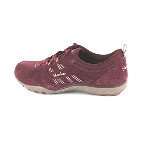 Skechers Women's Breathe-Easy-Good Luck Fashion Sneaker, Taupe, 8 M US Red